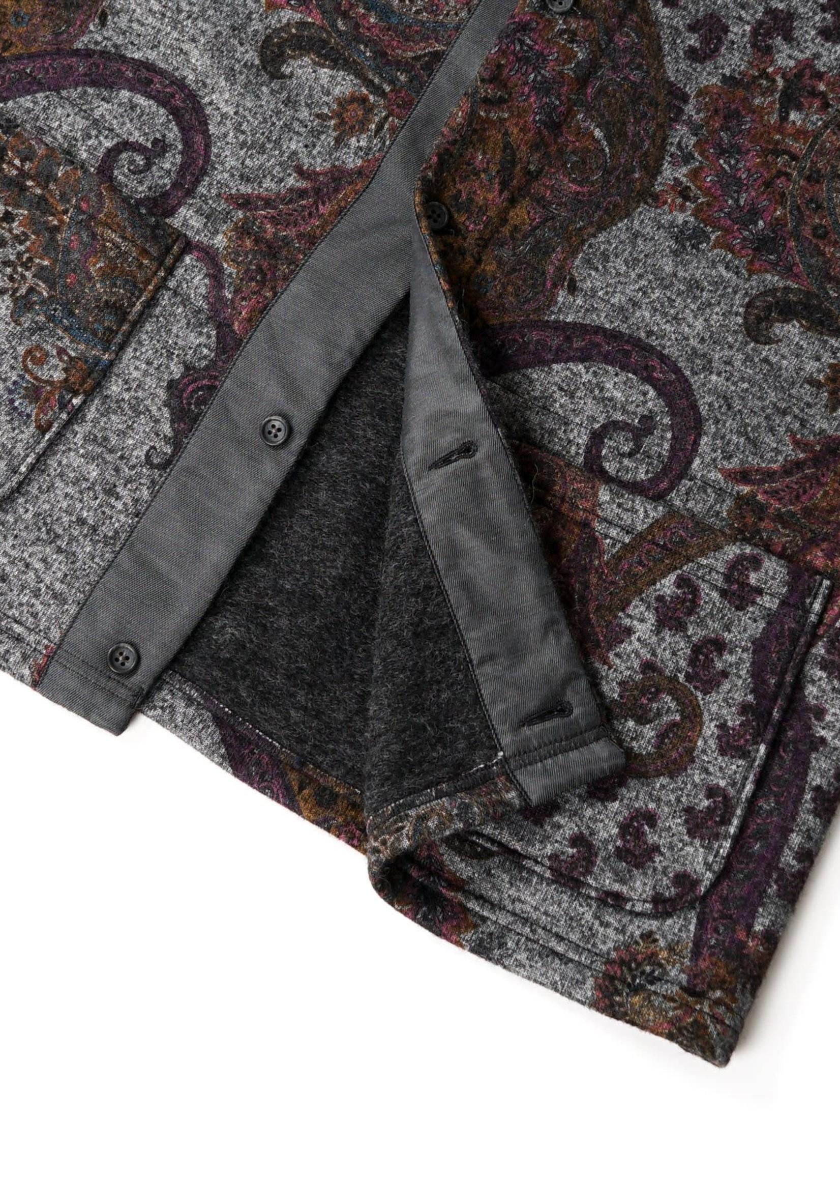 Engineered Garments Engineered Garments Crewneck Cardigan Grey Paisley Poly Wool