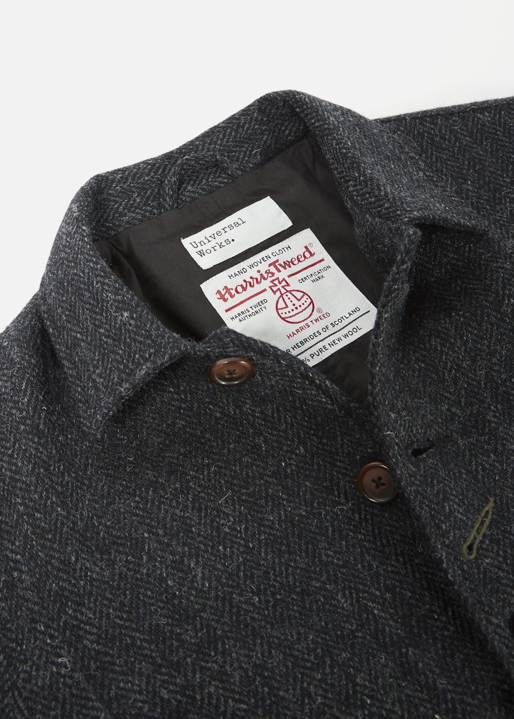 Universal Works Universal Works Bakers Jacket Charcoal Herringbone Harris Tweed