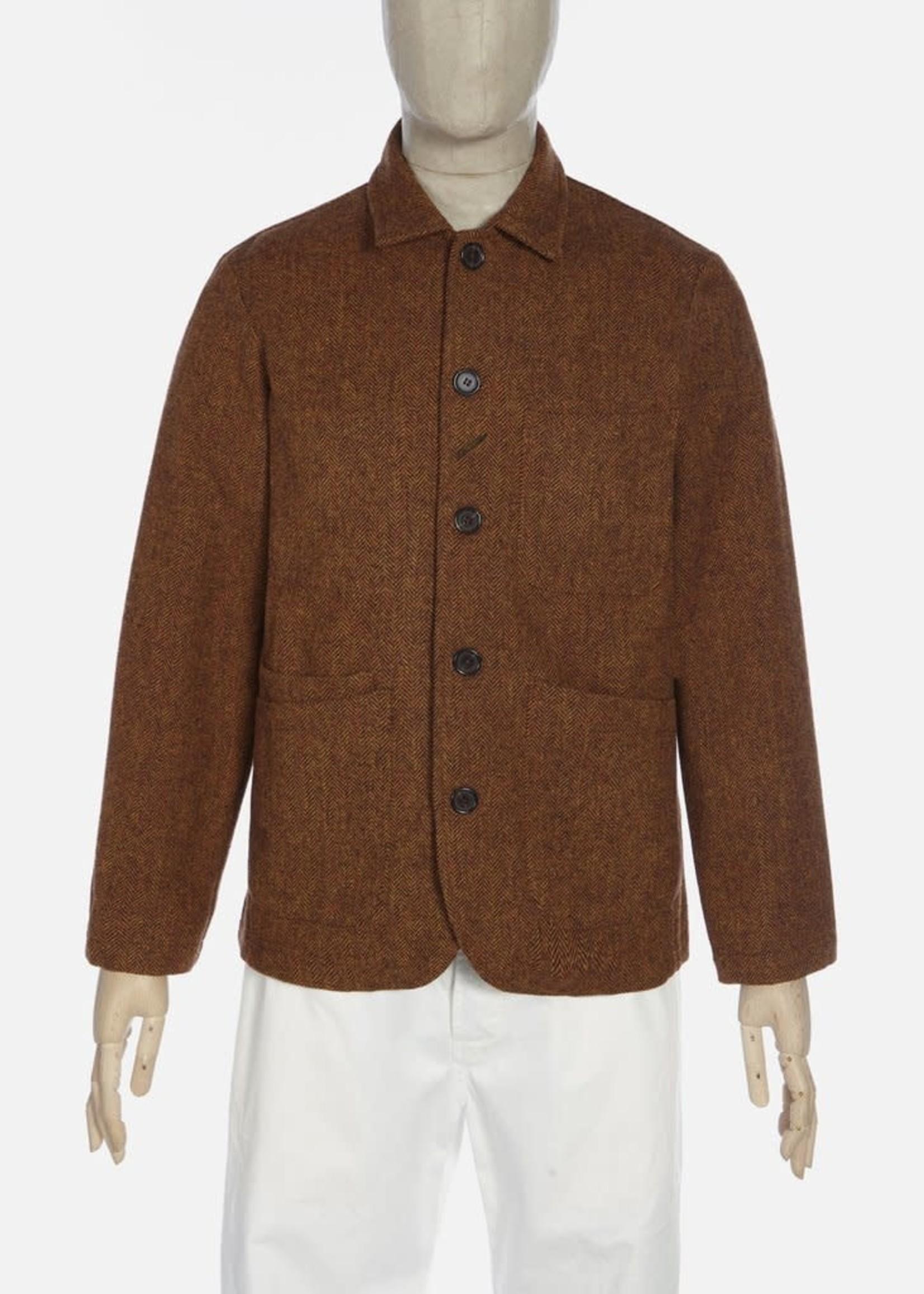 Universal Works Universal Works Bakers Jacket Orange Wool Herringbone