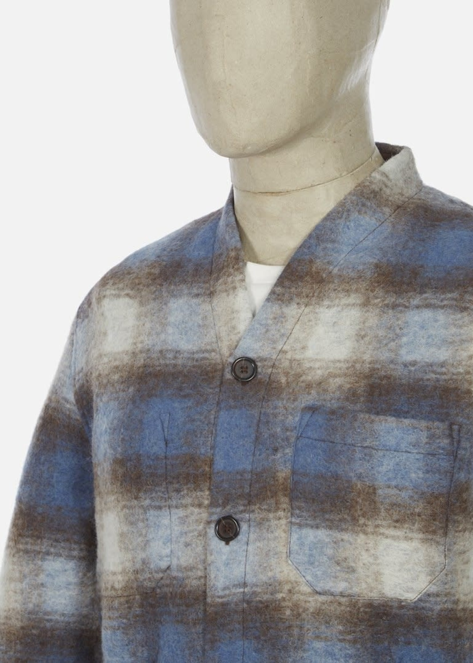 Universal Works Universal Works Cardigan Checked Fleece Blue/Brown Poly/Wool