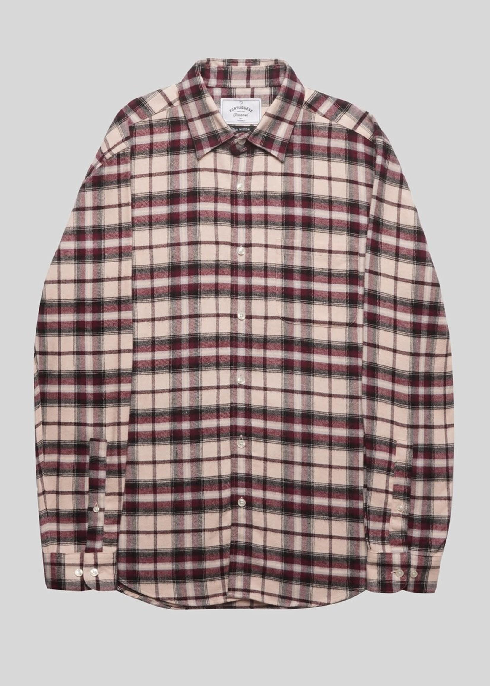 Portuguese Flannel Portuguese Flannel Raspberry Black White Raspberry Plaid Flannel Sport Shirt