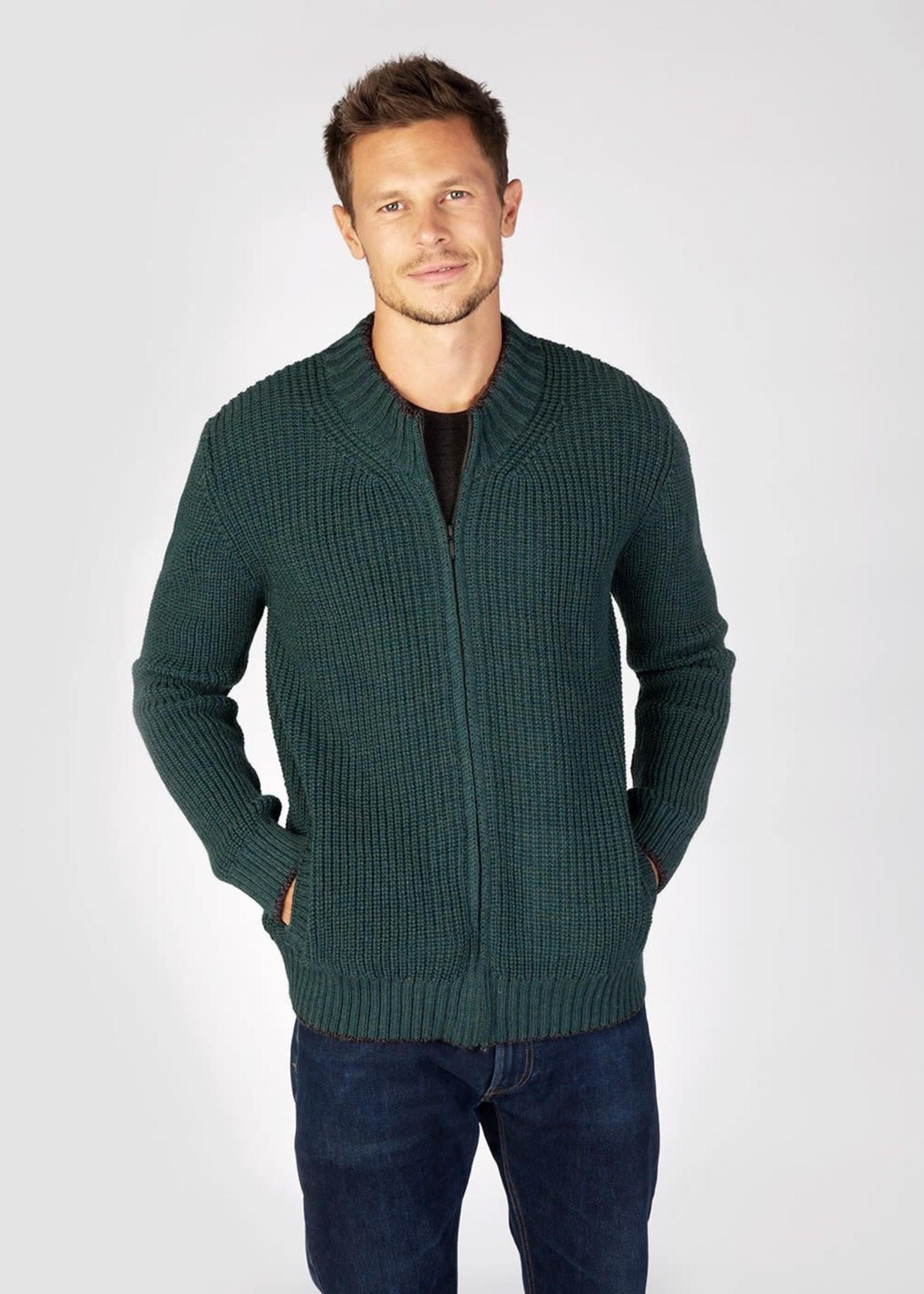 Ireland's Eye Ireland's Eye Rockbrook Evergreen Wool Ribbed Zipped Cardigan