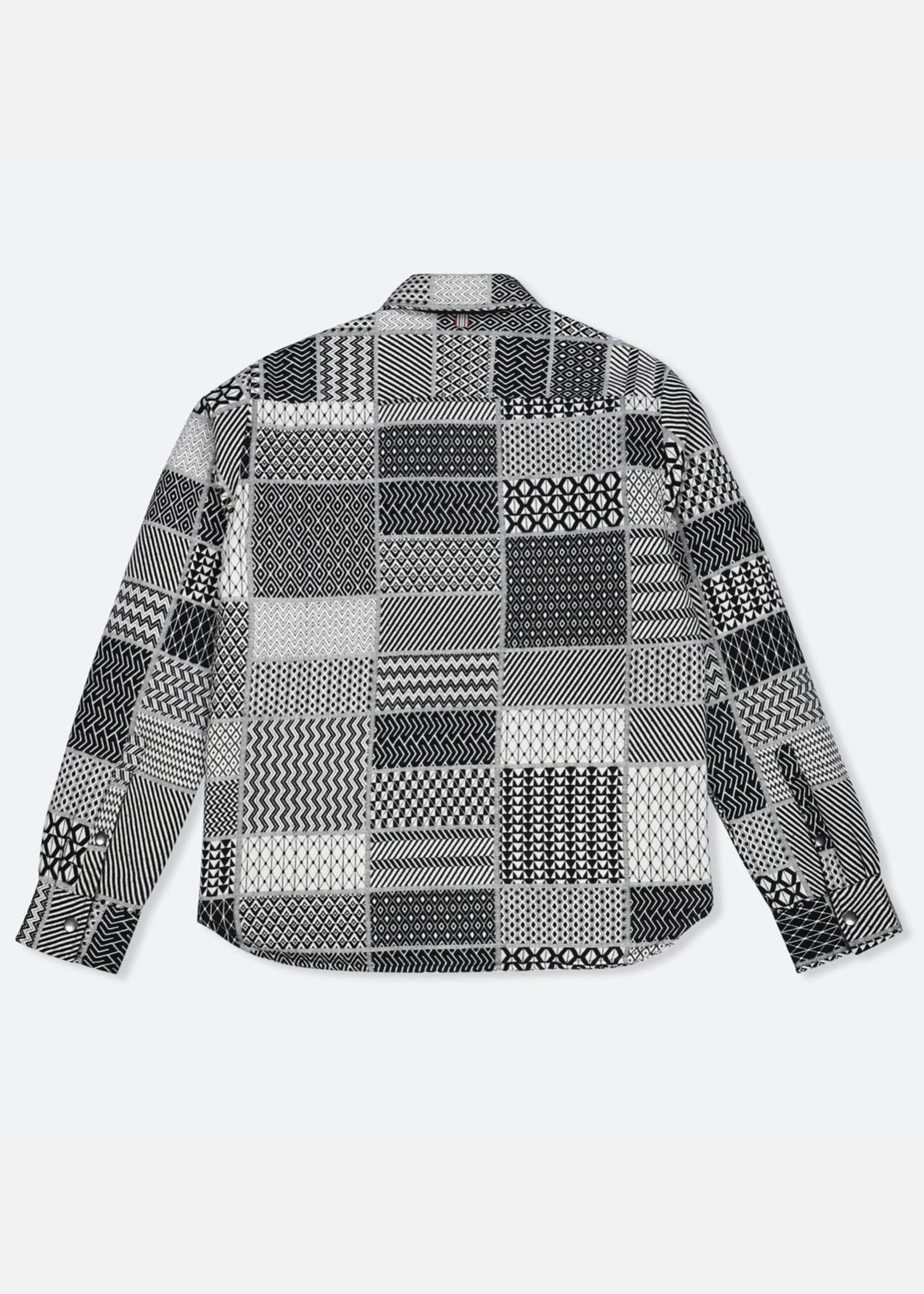 Kardo Kardo Woody Grey Abstract Patchwork Print Jacket