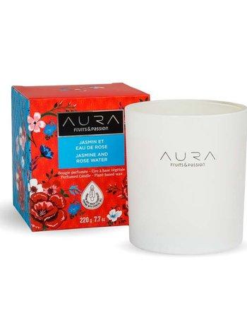 Fruits et Passion Bougie Parfumée AURA Jasmin et Eau de Rose 220g