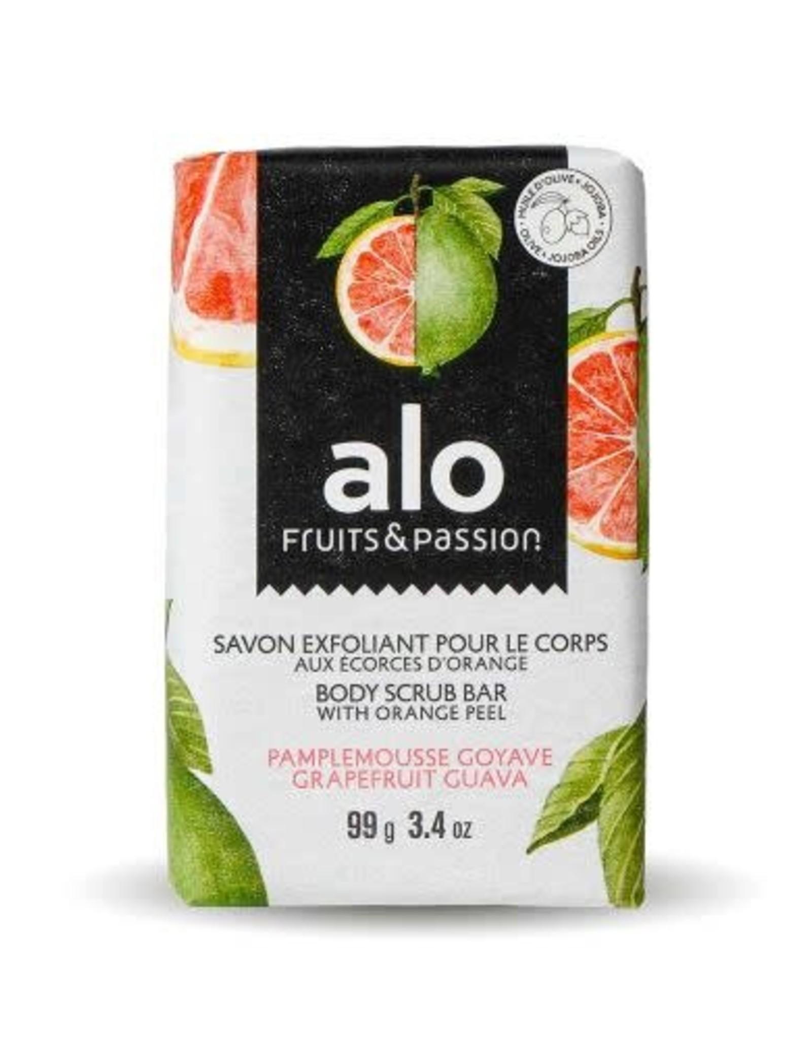 Fruits et Passion Savon Exfoliant pour le Corps aux Écorces d'Orange alo Pamplemousse Goyave 99g