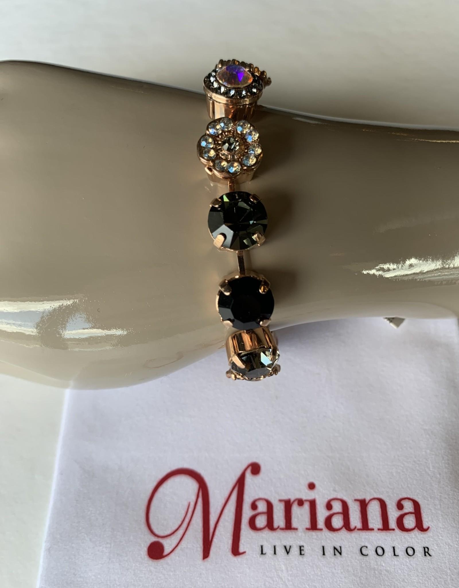 Mariana Bracelet Mariana B-4084 Fleurs avec Cristaux Swarovski Noir/Khaki/Gold 1094-RG