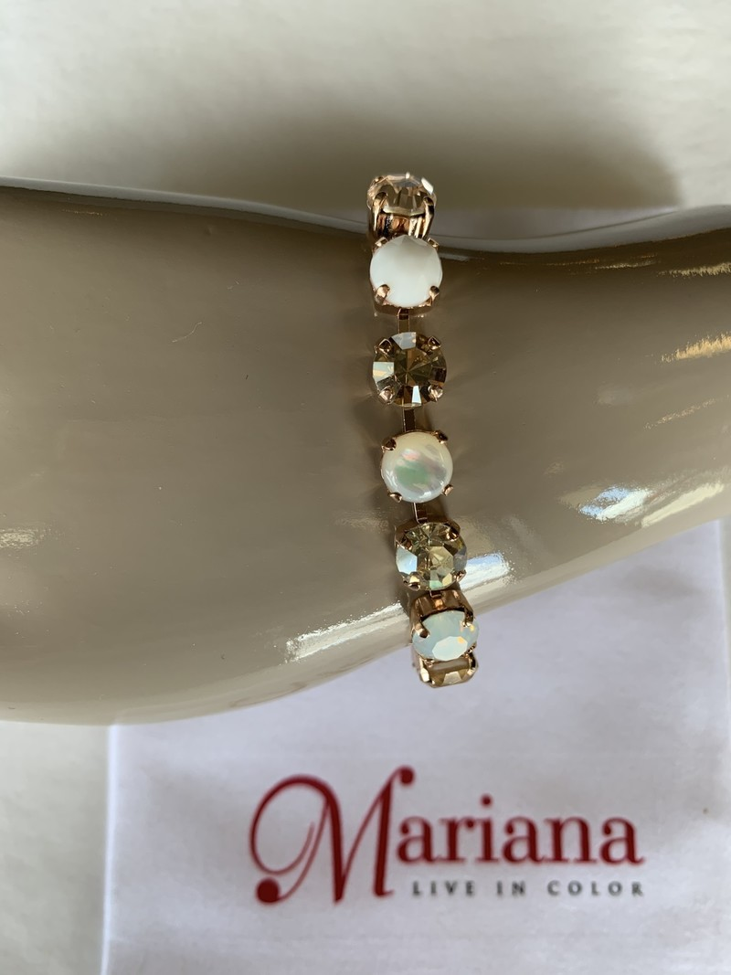 Mariana Bracelet Mariana B-4252 plaqué Rose Gold avec Cristaux Swarovski Champagne/Blanc/Gold M1078-RG