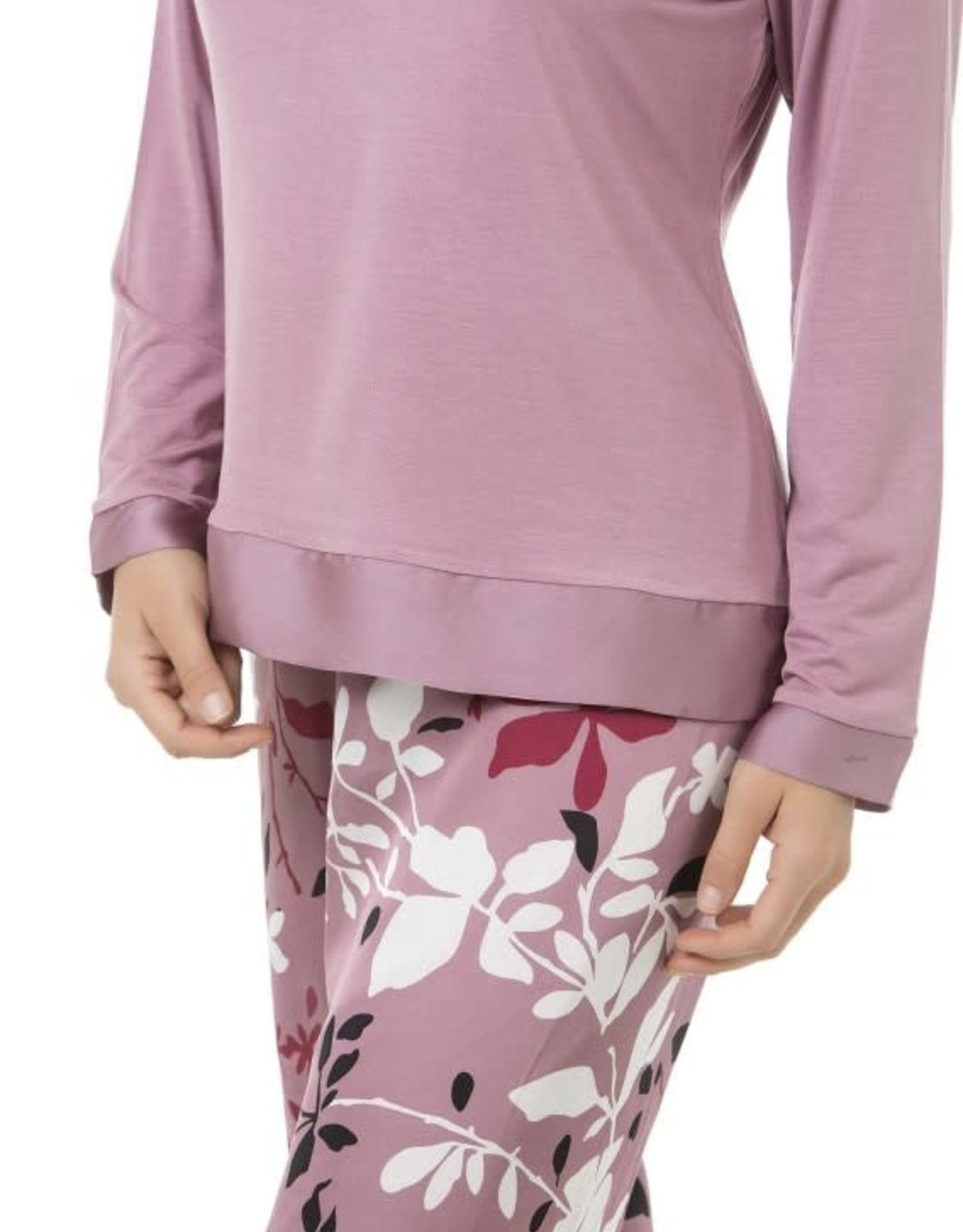 Selmark Pyjama 2 pcs Manches Longues Pantalon Long Satiné Motif Floral Selmark P0973