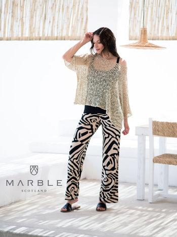 MARBLE Pantalon Palazzo MARBLE Motifs Asymétriques 5776