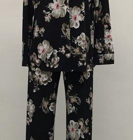 Pyjama 2pcs Satiné avec Pantalon et Chemisier à Motif Floral Najerika 5431