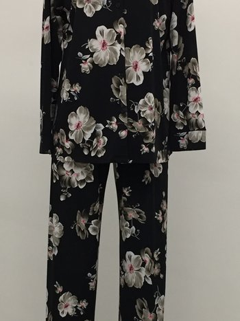 Najerika Pyjama 2pcs Satiné avec Pantalon et Chemisier à Motif Floral Najerika 5431