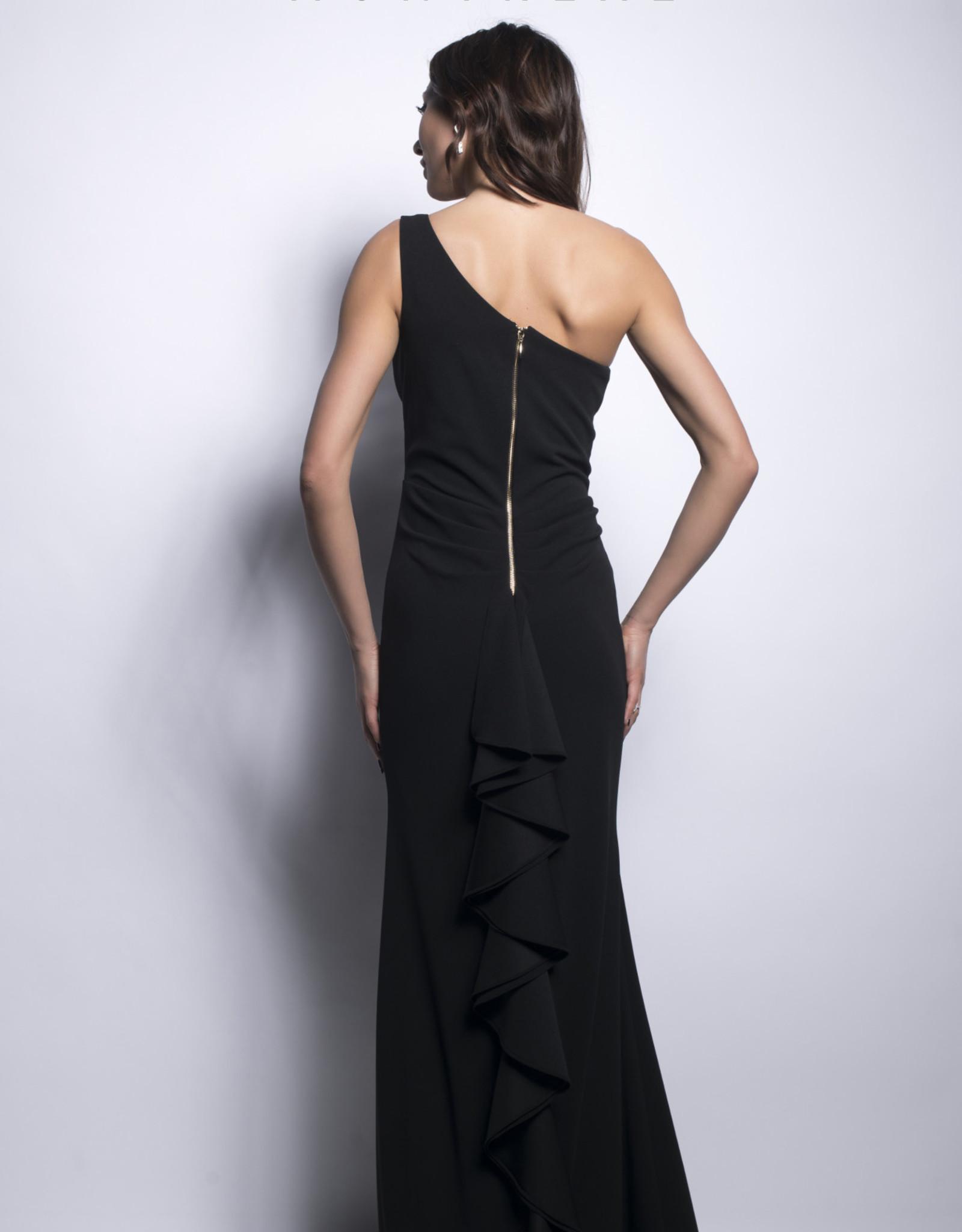 Robe Longue Ajustée à une Épaule Zip au Dos Lyman 209188