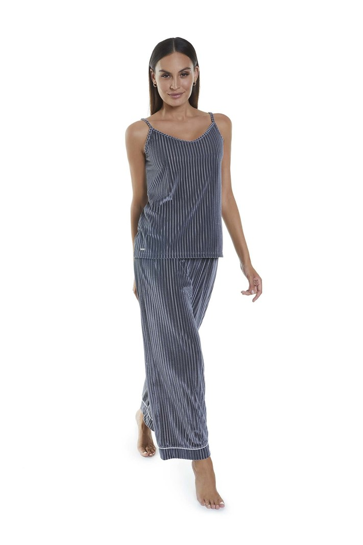 Selmark Pyjama 2pcs Ligné Camisole Bretelles Fines et Pantalon Selmark P2573