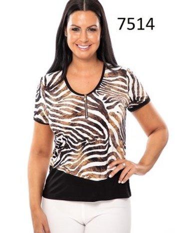 Bali T-Shirt Col en V à Motif Zébré et Détail Zip Or Bali 7514