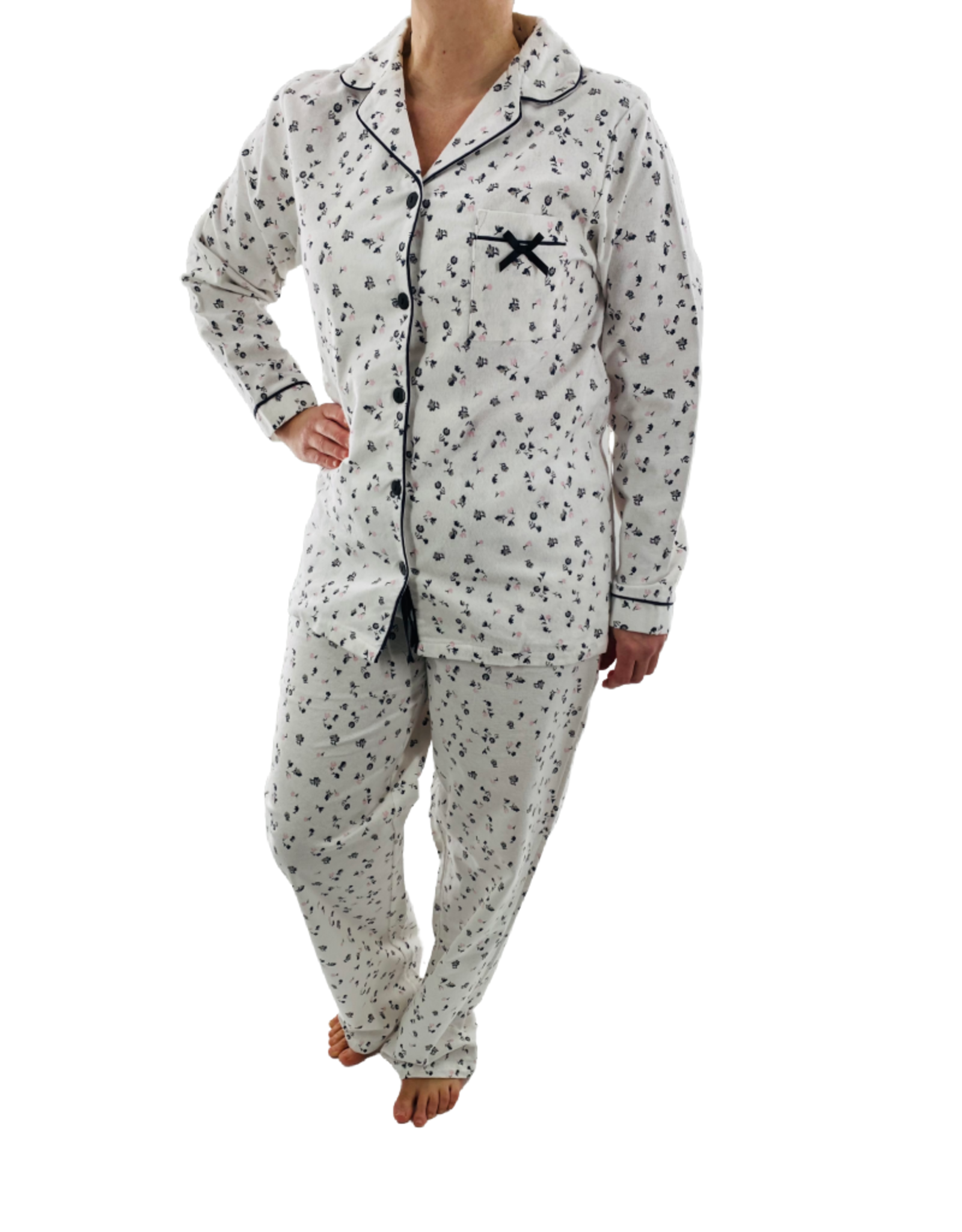 Pyjama 2 pcs Manches Longues Boutonné avec Pantalon Long Karmilla 920-1