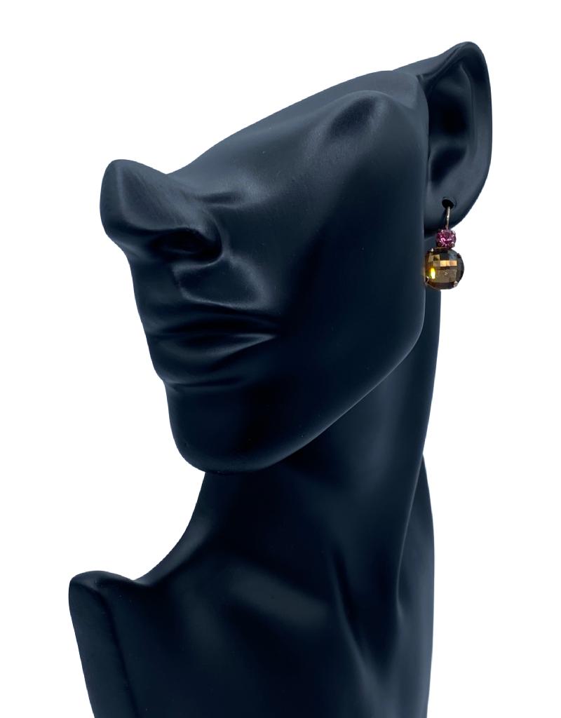 Mariana Boucles d'oreilles Mariana avec pierres E-1037/A Khaki/Rose/Gold 209221RG6