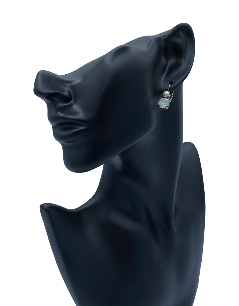 Mariana Boucles d'oreilles Mariana avec pierres E-1190 Silver Clair/Perle SP6