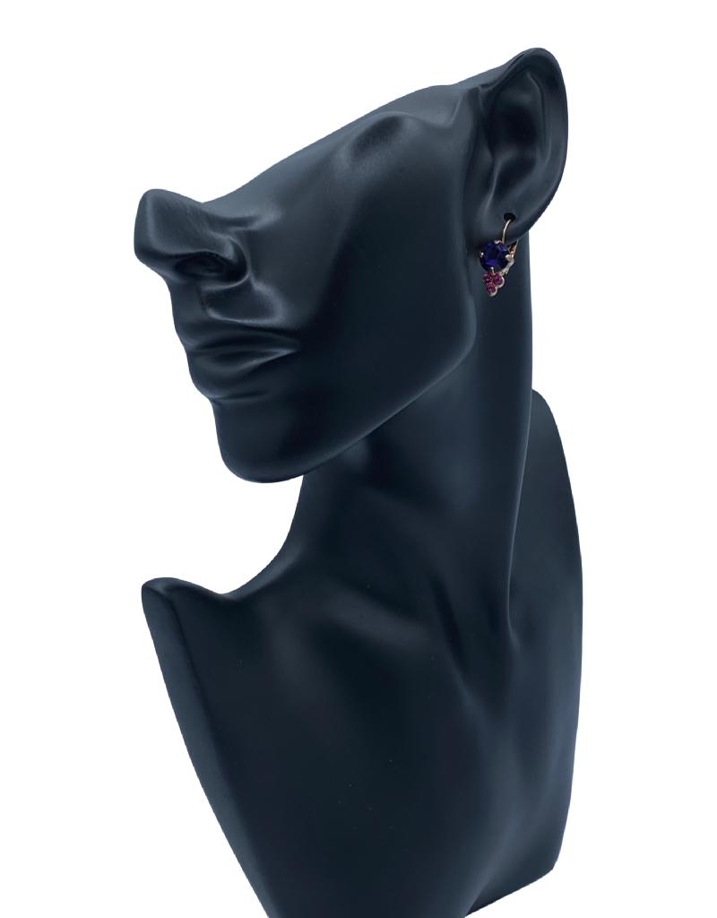 Mariana Boucles d'oreilles Mariana avec pierres E1010 Mauve/Fushia/Gold 1091RG6