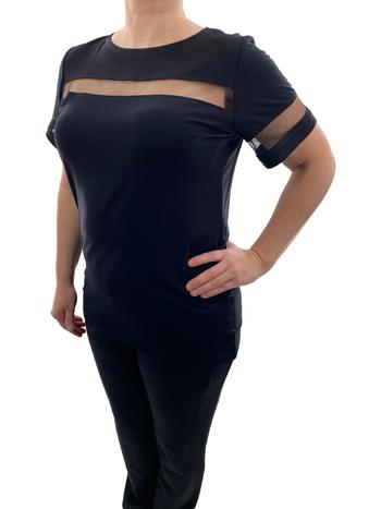 Valzère T-Shirt Détail en Maille Transparente Valzère CH-9-2160