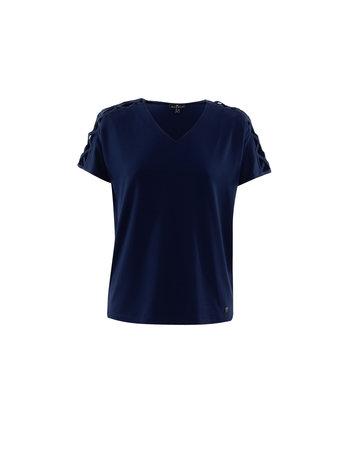 MARBLE T-Shirt à Col en V Lacé aux Épaules Marble 6154