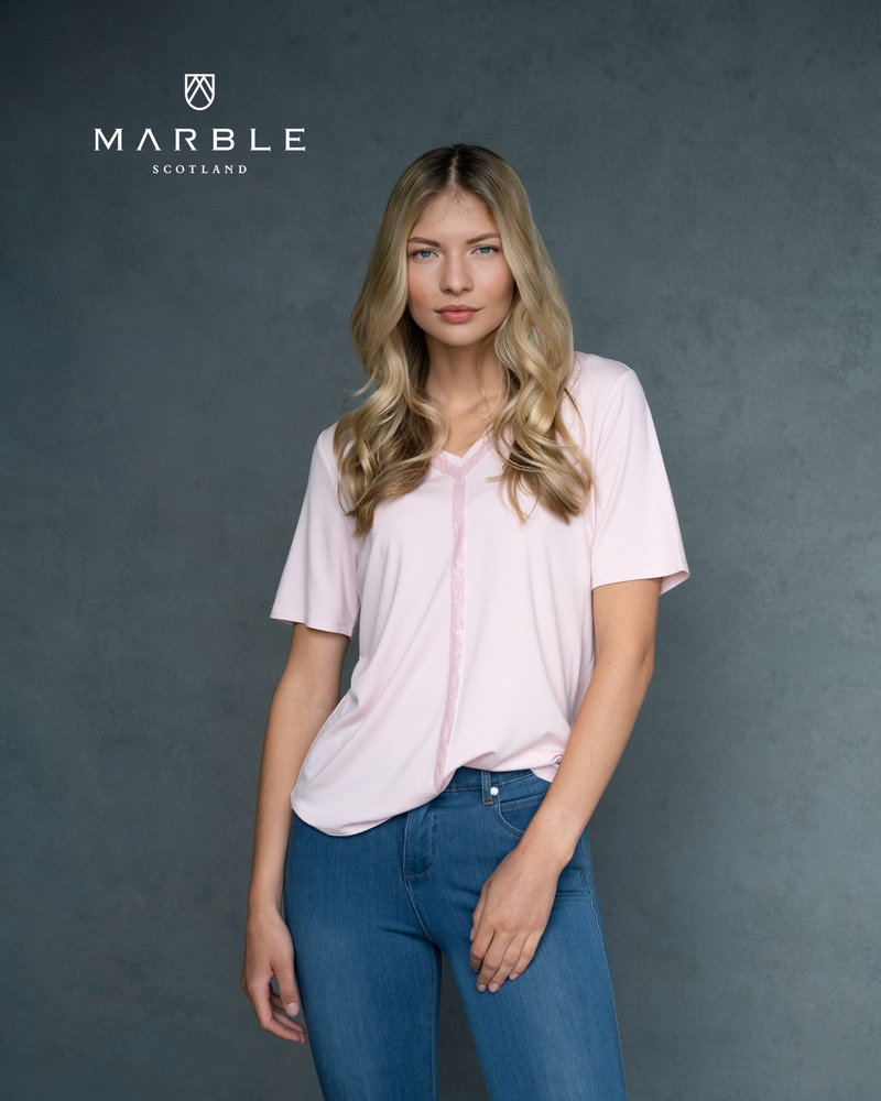 MARBLE T-Shirt à Paillettes et Col en V  MARBLE 6149