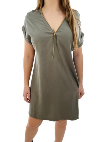 Apricot Robe Demi-Zip avec Manches à Revers Apricot 472242