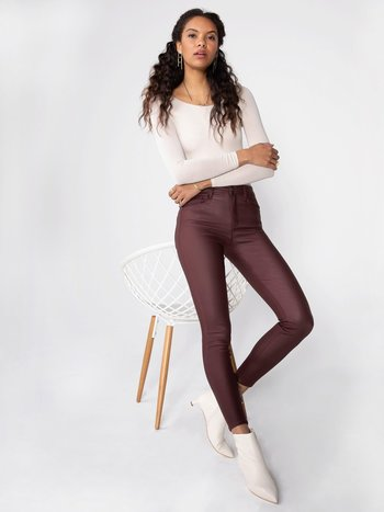 Unpublished Jeans Skinny à Taille Haute Effet Cuir Unpublished Olivia