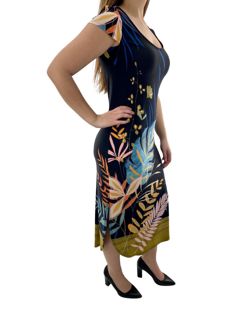 Artex Fashions Robe Simple à Manches Courtes et Imprimé Floral Artex 45-6029