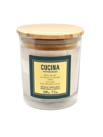 Fruits et Passion Bougie Parfumée Cucina Fleur de Sel et Citron d'Amalfi 220g
