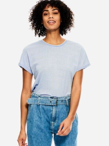 Garcia T-Shirt Brillant à Manches Retroussées Garcia C10208