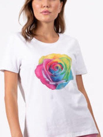 Coco Y Club T-Shirt Col Rond avec Rose Multicolore CYC 211-2084