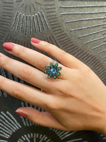 Mariana Bague Ajustable Mariana R-7125 Fleur Bleu/Vert