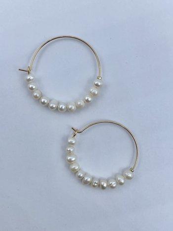 Looli Boucles d'Oreilles Anneaux avec Perles Or Looli LJ229