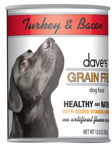 Dave's Pet Food Turkey & Bacon Dog Food, 13.2 oz can