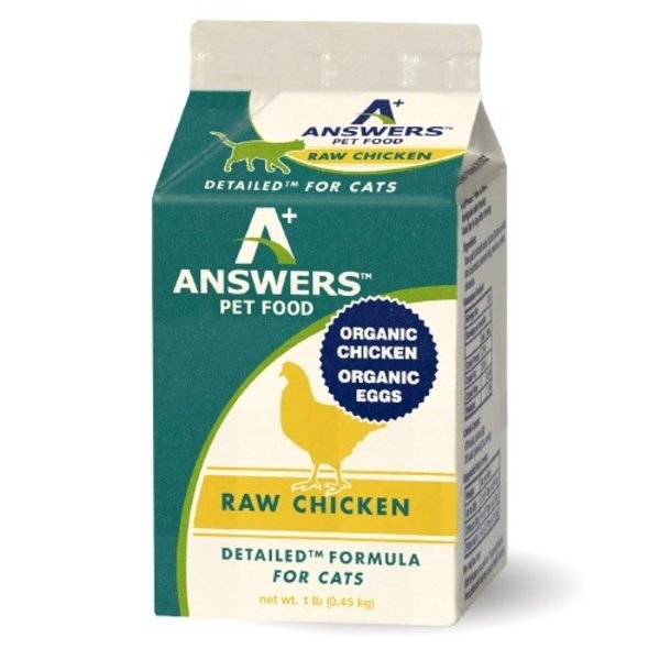 Answers Answers Pet Detailed Chicken Carton Frozen Cat Food, 1lb