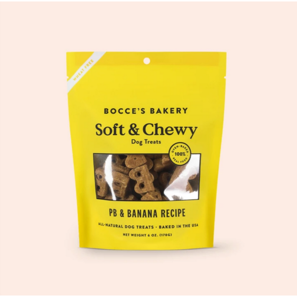 Bocce's Bocce's Bakery Soft & Chewy PB and Banana Dog Treats, 6oz bag