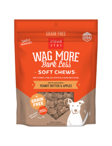 Cloud Star Wag More Bark Less Grain Free Soft & Chewy Peanut Butter & Apples Treat, 5 oz bag