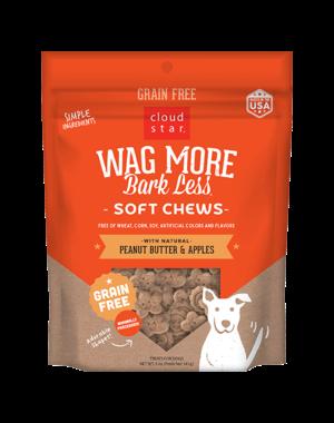 Cloud Star Cloud Star Wag More Bark Less Grain Free Soft & Chewy Peanut Butter & Apples Treat, 5 oz bag