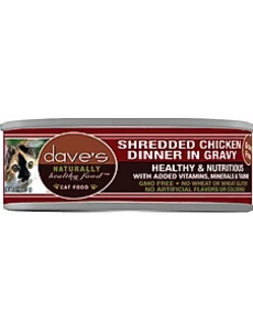 Dave's Pet Food Shredded Chicken Cat Can Food, 5.5 oz can