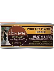 Dave's Pet Food Poultry Platter Cat Can Food, 5.5 oz can