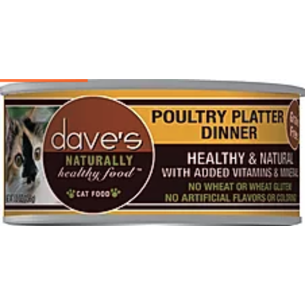 Dave's Pet Food Dave's Naturally Healthy Poultry Platter Cat Can Food, 5.5 oz can