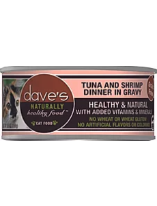 Dave's Pet Food Dave's Naturally Healthy Grain Free Tuna & Shrimp Cat Dinner in Gravy, 5.5 oz can