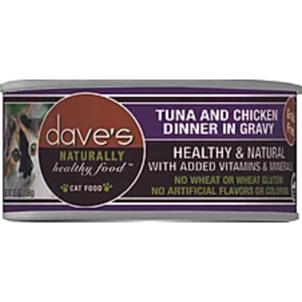 Dave's Pet Food Dave's Naturally Healthy Grain Free Tuna & Chicken Cat Entree in Gravy, 3 oz can