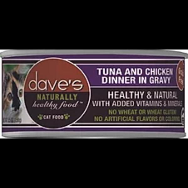 Dave's Pet Food Grain Free Tuna & Chicken Cat Entree in Gravy, 3 oz can