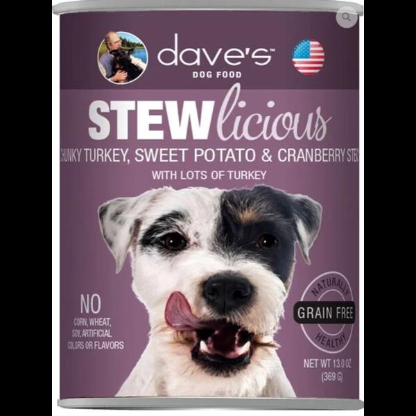 Dave's Pet Food Grain Free Stewlicious Chunky Turkey Dog Food, 13 oz can