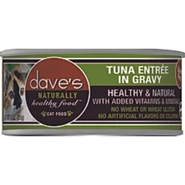 Dave's Pet Food Dave's Naturally Healthy Grain Free Tuna Cat Entree in Gravy, 3 oz can