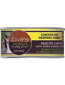 Dave's Pet Food Chicken & Herring Dinner Cat Can Food, 5.5 oz can