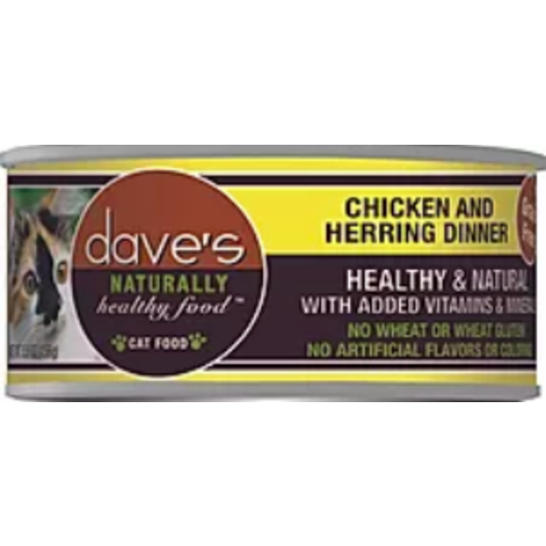 Dave's Pet Food Dave's Chicken & Herring Dinner Cat Can Food, 5.5 oz can