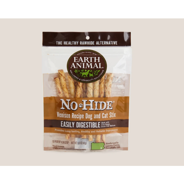 Earth Animal Earth Animal No Hide Venison Stix Chew Dog Treat, 1.6 oz bag