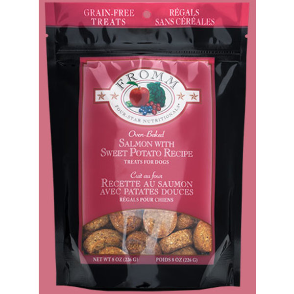 Fromm Four Star Grain Free Salmon with Sweet Potato Dog Treat, 8 oz bag